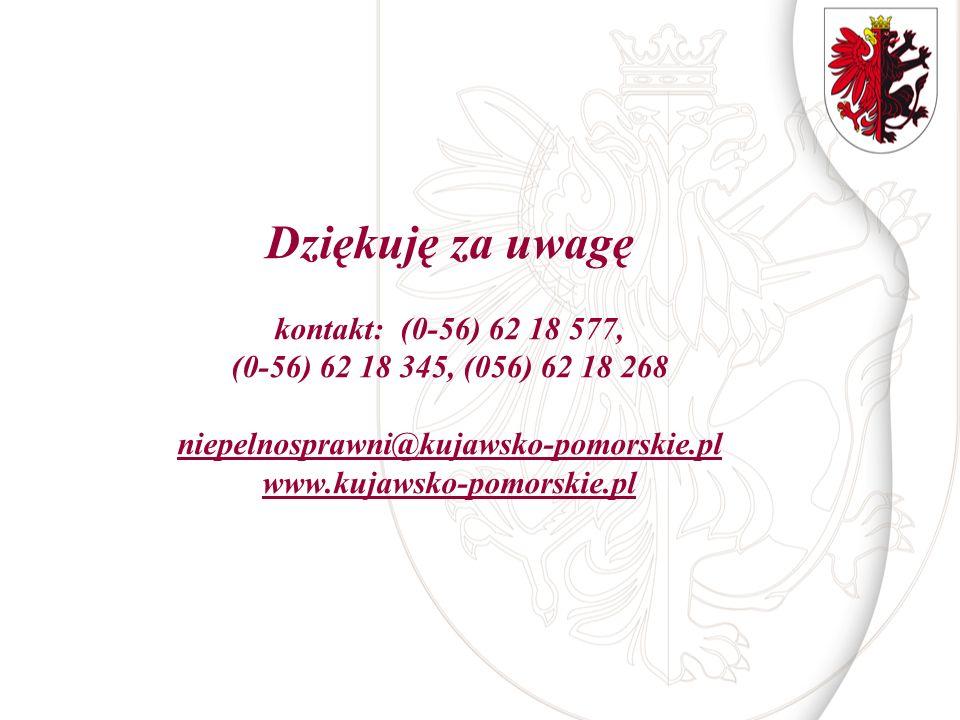 Dziękuję za uwagę kontakt: (0-56) 62 18 577, (0-56) 62 18 345, (056) 62 18 268 niepelnosprawni@kujawsko-pomorskie.pl www.kujawsko-pomorskie.pl niepeln