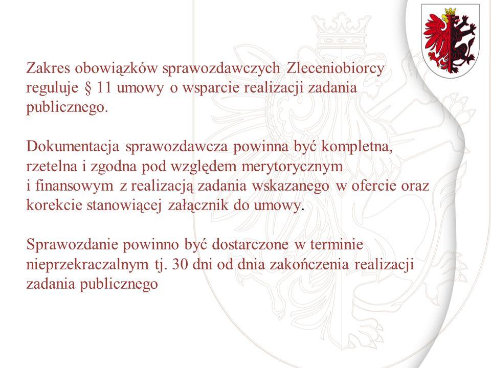 Zakres obowiązków sprawozdawczych Zleceniobiorcy reguluje § 11 umowy o wsparcie realizacji zadania publicznego. Dokumentacja sprawozdawcza powinna być
