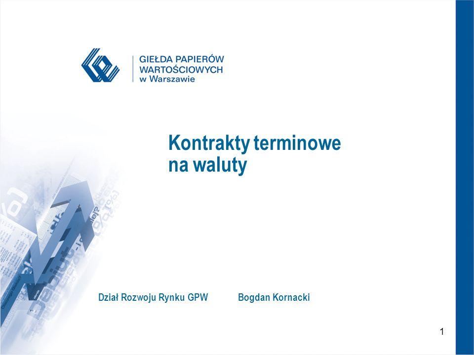 1 Kontrakty terminowe na waluty Dział Rozwoju Rynku GPWBogdan Kornacki