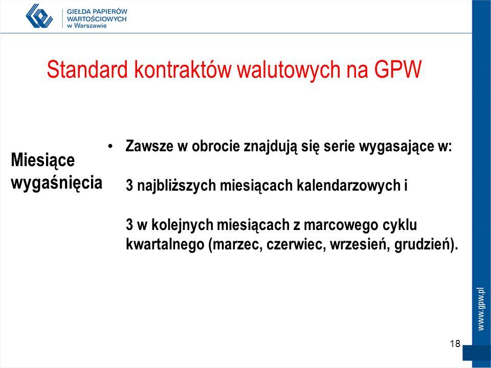 18 Standard kontraktów walutowych na GPW Miesiące wygaśnięcia Zawsze w obrocie znajdują się serie wygasające w: 3 najbliższych miesiącach kalendarzowy