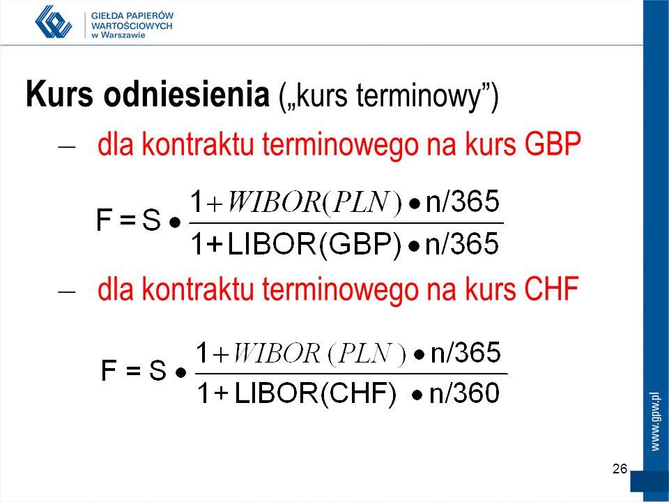 26 Kurs odniesienia (kurs terminowy) – dla kontraktu terminowego na kurs GBP – dla kontraktu terminowego na kurs CHF