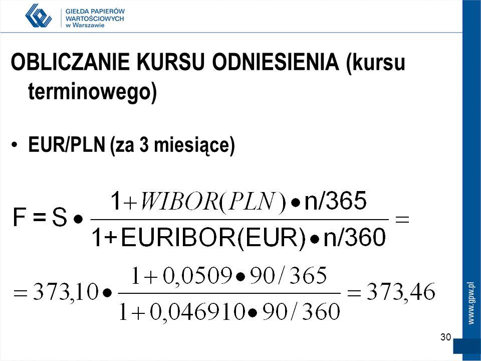 30 OBLICZANIE KURSU ODNIESIENIA (kursu terminowego) EUR/PLN (za 3 miesiące)
