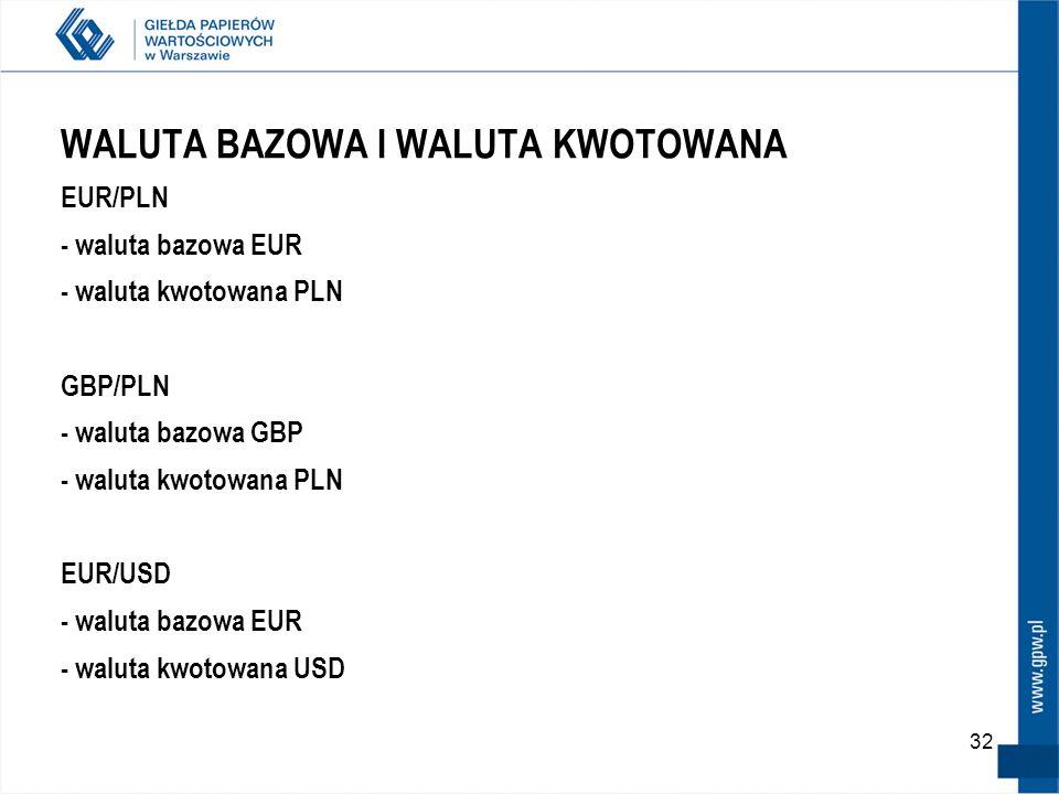 32 WALUTA BAZOWA I WALUTA KWOTOWANA EUR/PLN - waluta bazowa EUR - waluta kwotowana PLN GBP/PLN - waluta bazowa GBP - waluta kwotowana PLN EUR/USD - wa