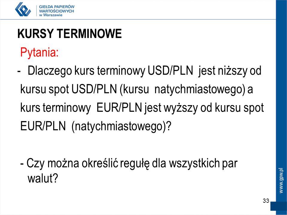 33 KURSY TERMINOWE Pytania: -Dlaczego kurs terminowy USD/PLN jest niższy od kursu spot USD/PLN (kursu natychmiastowego) a kurs terminowy EUR/PLN jest