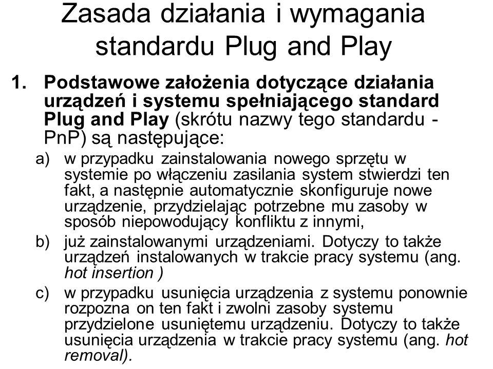 Zasada działania i wymagania standardu Plug and Play 1.Podstawowe założenia dotyczące działania urządzeń i systemu spełniającego standard Plug and Pla