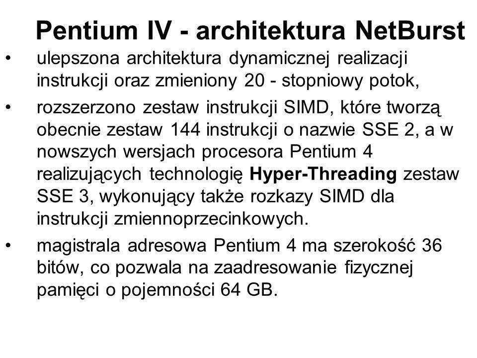 Pentium IV - architektura NetBurst ulepszona architektura dynamicznej realizacji instrukcji oraz zmieniony 20 - stopniowy potok, rozszerzono zestaw in