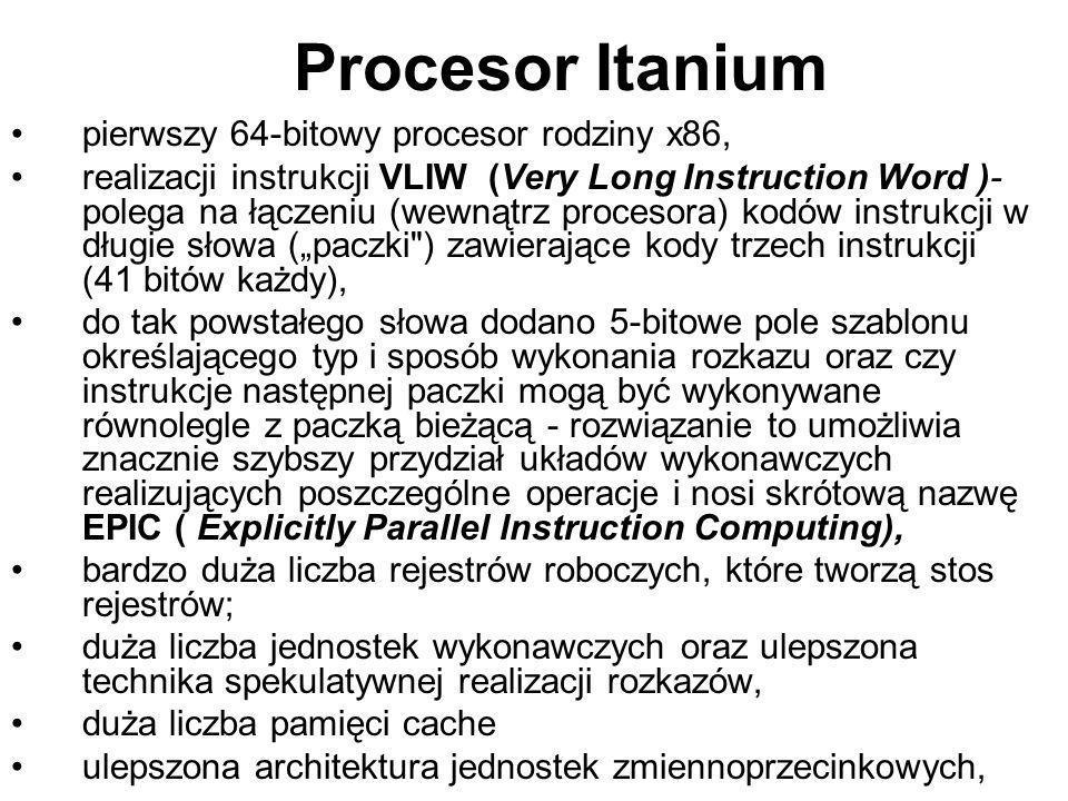 Procesor Itanium pierwszy 64-bitowy procesor rodziny x86, realizacji instrukcji VLIW (Very Long Instruction Word )- polega na łączeniu (wewnątrz proce