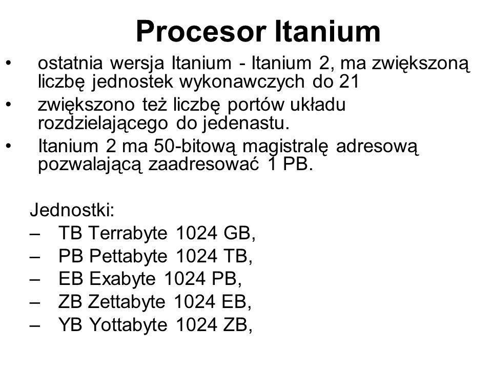 ostatnia wersja Itanium - Itanium 2, ma zwiększoną liczbę jednostek wykonawczych do 21 zwiększono też liczbę portów układu rozdzielającego do jedenast