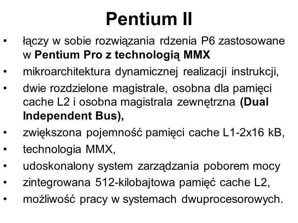 Celeron tania wersja procesora Pentium II obniżenie ceny osiągnięto usuwając z płytki procesora pamięć cache L2 lub w późniejszych wersjach ograniczając jego rozmiar do 128 kB, pozwoliło to rzeczywiście obniżyć cenę oraz zmniejszyć pobór mocy (procesor nie wymaga radiatora), lecz obniżyło szybkość jego działania, pozostałe rozwiązania architektury i możliwości są takie jak dla Pentium II.