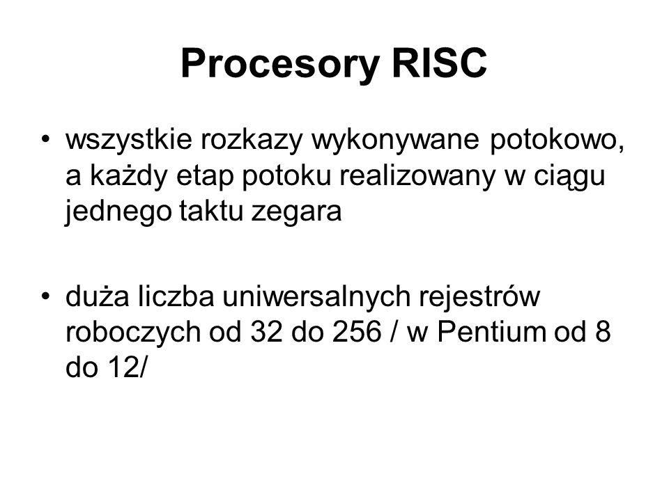 Procesory RISC wszystkie rozkazy wykonywane potokowo, a każdy etap potoku realizowany w ciągu jednego taktu zegara duża liczba uniwersalnych rejestrów