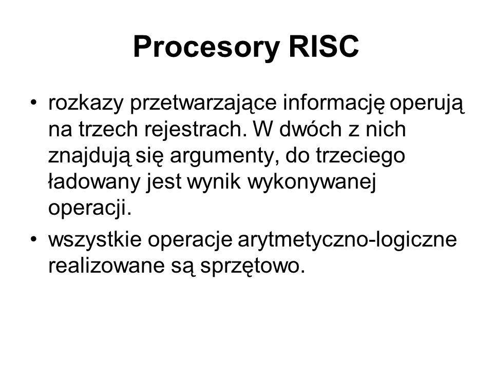 Procesory RISC rozkazy przetwarzające informację operują na trzech rejestrach. W dwóch z nich znajdują się argumenty, do trzeciego ładowany jest wynik