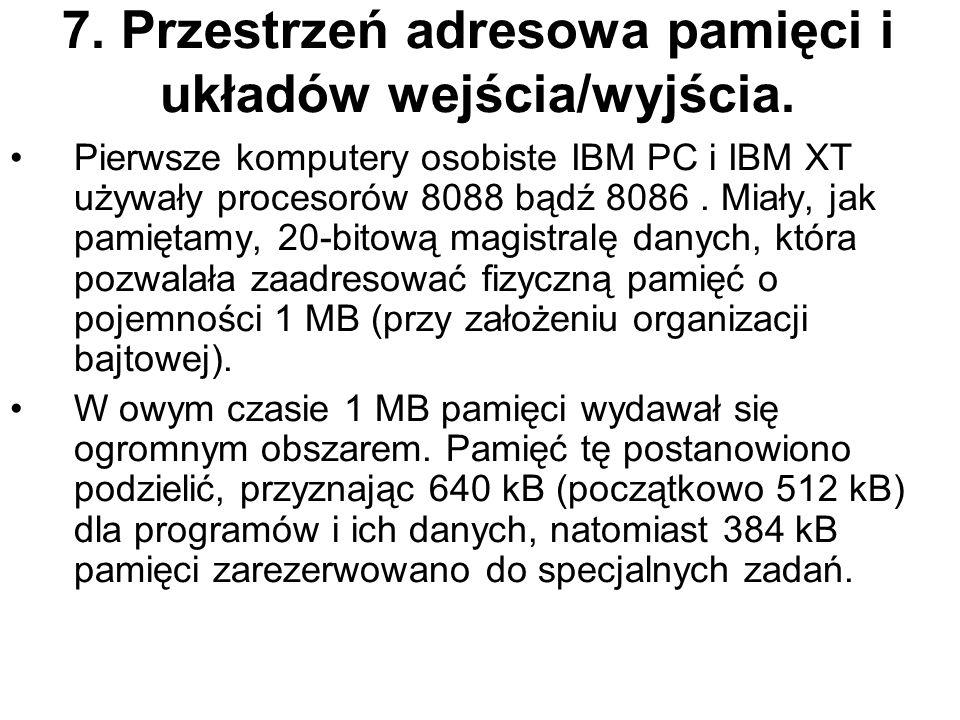 7. Przestrzeń adresowa pamięci i układów wejścia/wyjścia. Pierwsze komputery osobiste IBM PC i IBM XT używały procesorów 8088 bądź 8086. Miały, jak pa