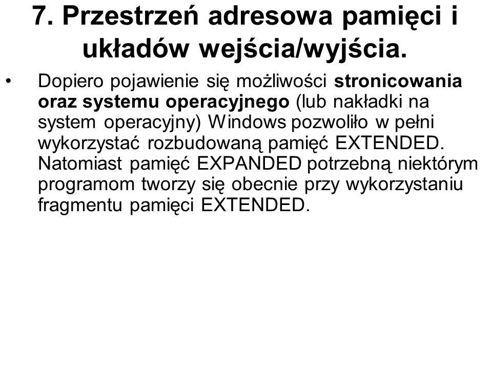 7. Przestrzeń adresowa pamięci i układów wejścia/wyjścia. Dopiero pojawienie się możliwości stronicowania oraz systemu operacyjnego (lub nakładki na s