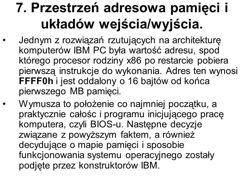 7. Przestrzeń adresowa pamięci i układów wejścia/wyjścia. Jednym z rozwiązań rzutujących na architekturę komputerów IBM PC była wartość adresu, spod k