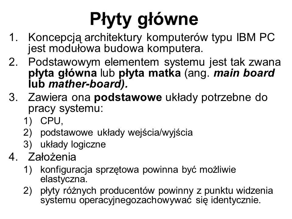 1.Koncepcją architektury komputerów typu IBM PC jest modułowa budowa komputera. 2.Podstawowym elementem systemu jest tak zwana płyta główna lub płyta