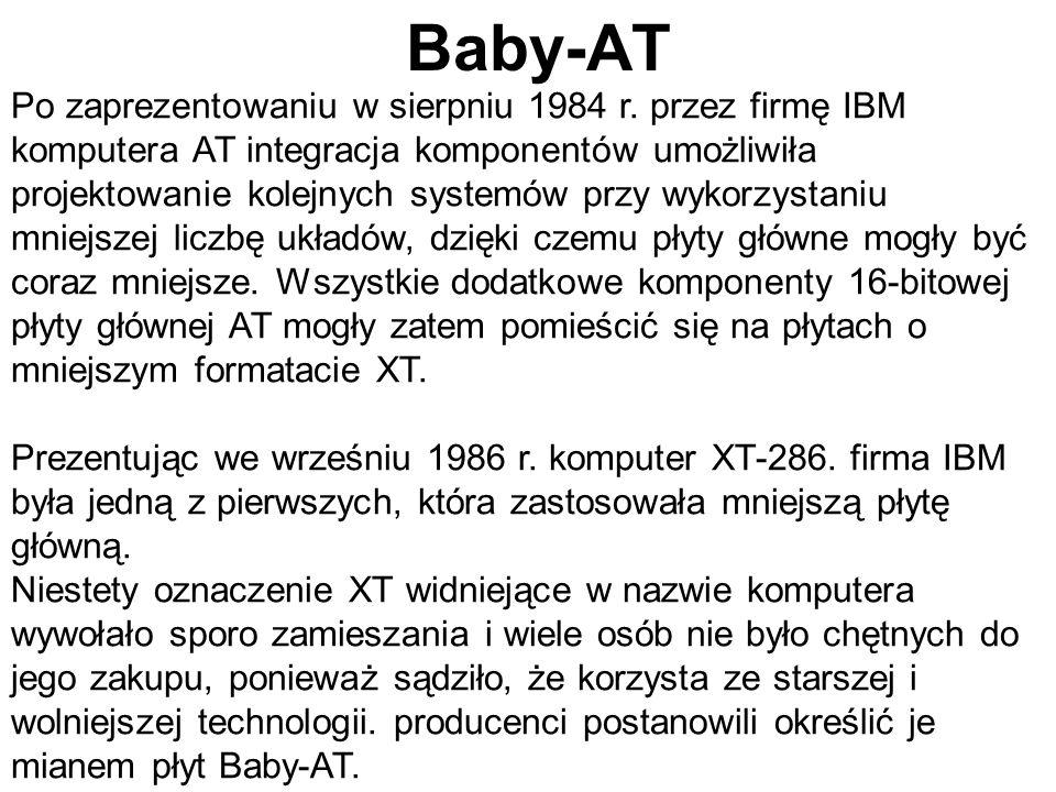 Po zaprezentowaniu w sierpniu 1984 r. przez firmę IBM komputera AT integracja komponentów umożliwiła projektowanie kolejnych systemów przy wykorzystan