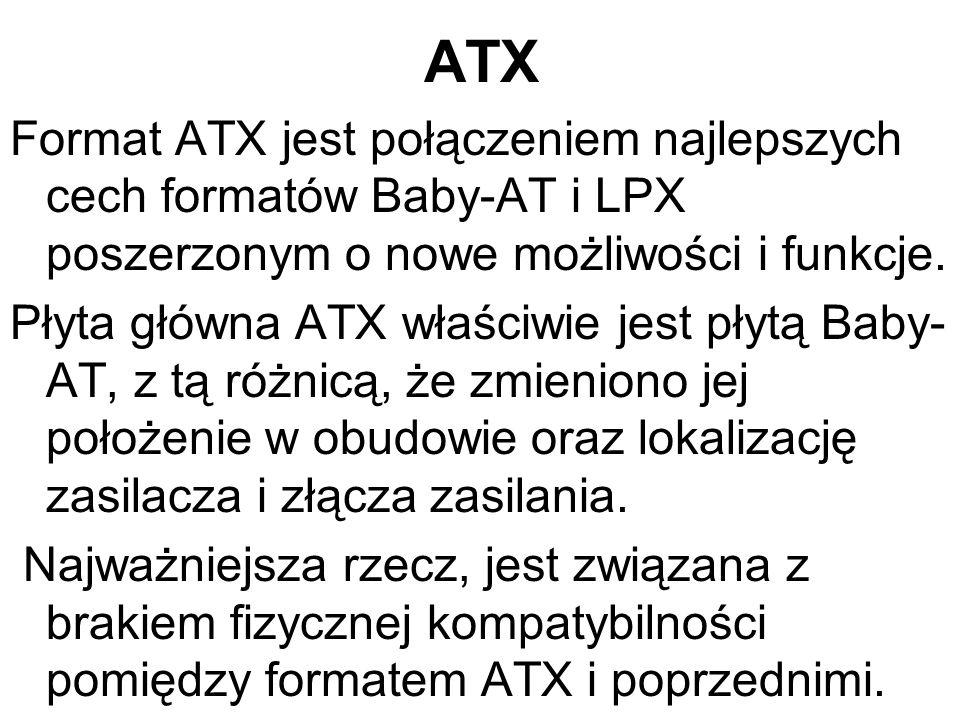 ATX Format ATX jest połączeniem najlepszych cech formatów Baby-AT i LPX poszerzonym o nowe możliwości i funkcje. Płyta główna ATX właściwie jest płytą
