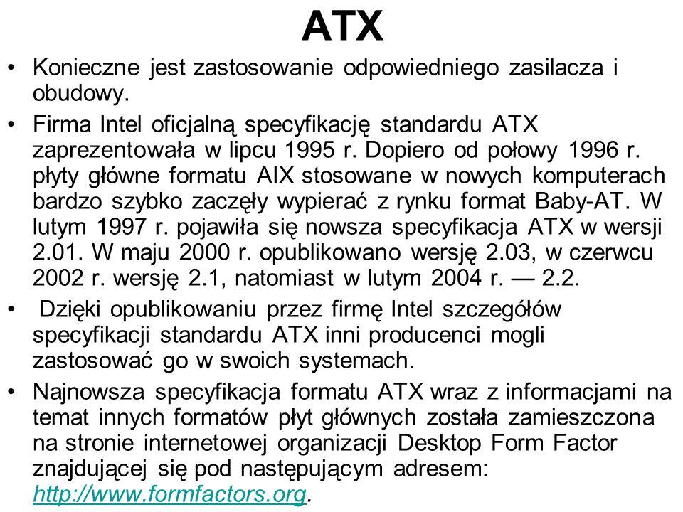 ATX Konieczne jest zastosowanie odpowiedniego zasilacza i obudowy. Firma Intel oficjalną specyfikację standardu ATX zaprezentowała w lipcu 1995 r. Dop