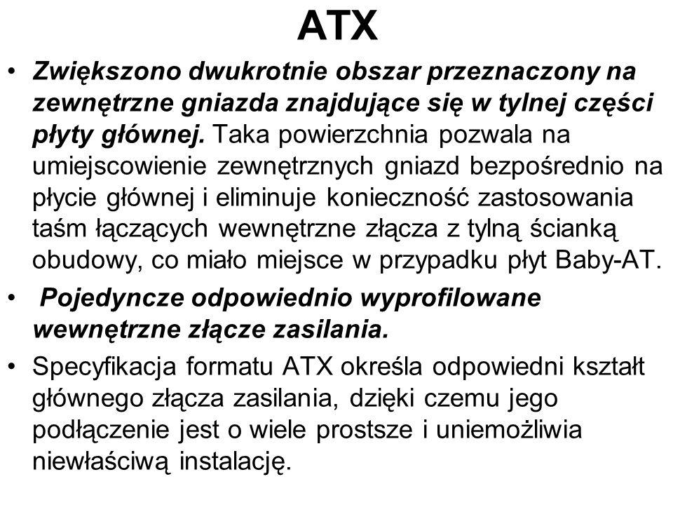 ATX Zwiększono dwukrotnie obszar przeznaczony na zewnętrzne gniazda znajdujące się w tylnej części płyty głównej. Taka powierzchnia pozwala na umiejsc