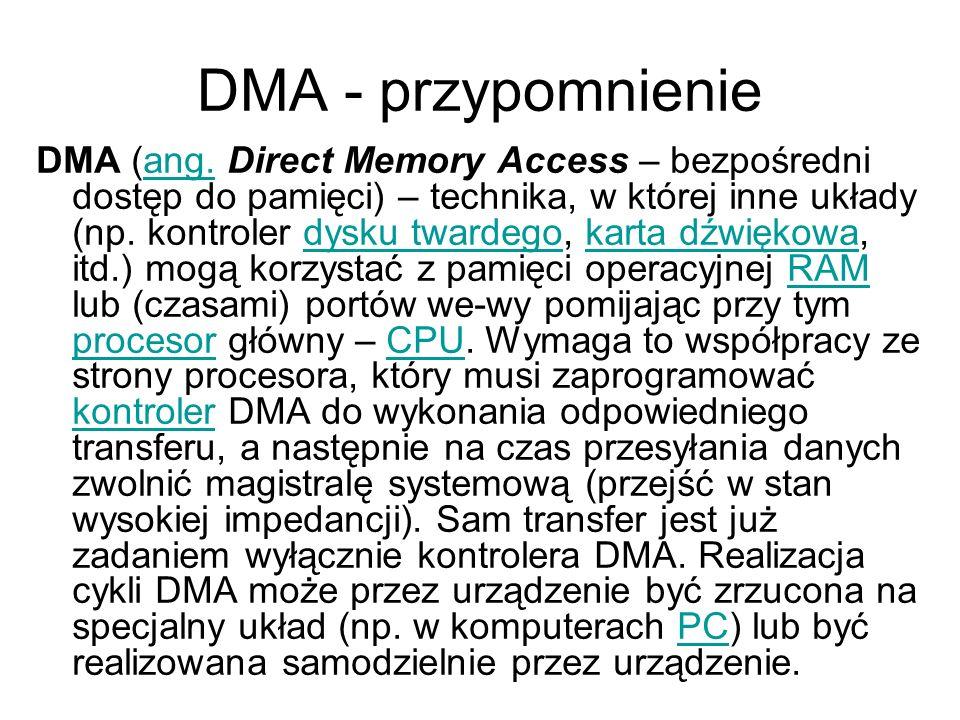 DMA - przypomnienie DMA (ang. Direct Memory Access – bezpośredni dostęp do pamięci) – technika, w której inne układy (np. kontroler dysku twardego, ka