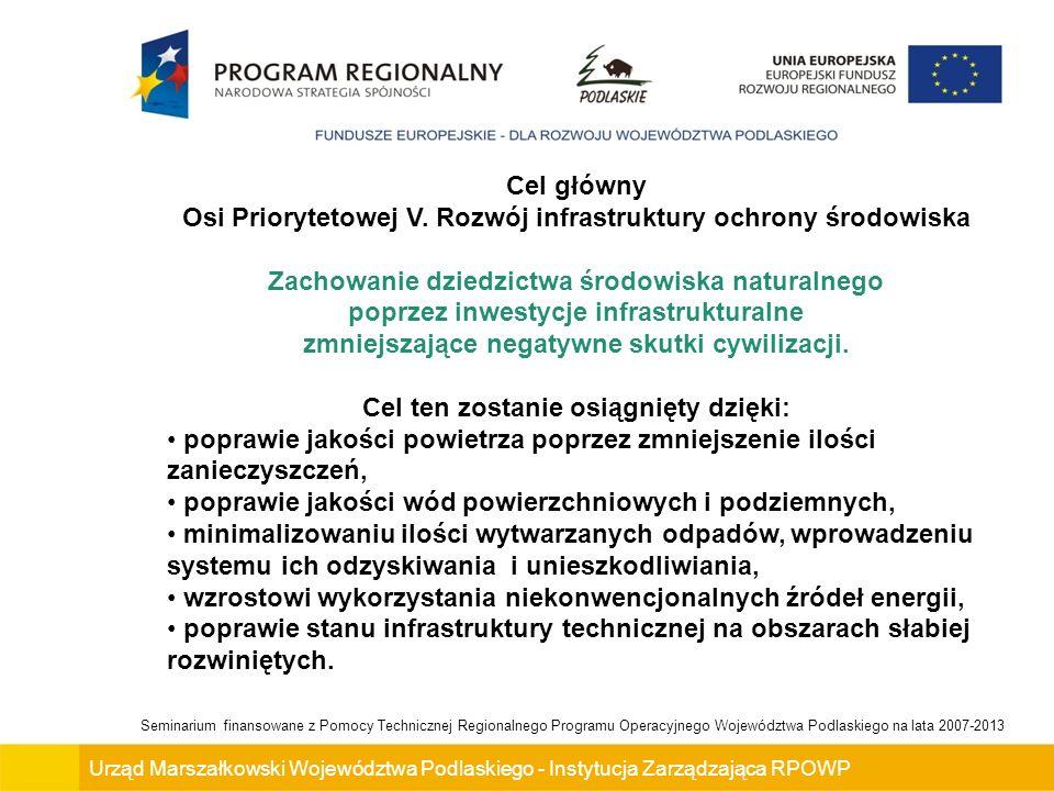 Urząd Marszałkowski Województwa Podlaskiego - Instytucja Zarządzająca RPOWP Seminarium finansowane z Pomocy Technicznej Regionalnego Programu Operacyjnego Województwa Podlaskiego na lata 2007-2013 Podmioty uprawnione do ubiegania się o wsparcie w ramach Działania (cd): 6.Spółki prawa handlowego nie działające w celu osiągnięcia zysku lub przeznaczające zyski na cele statutowe, w których większość udziałów lub akcji posiadają jst lub ich związki, porozumienia, stowarzyszenia, 7.Spółki wodne, 8.Administracja rządowa szczebla terytorialnego, 9.Wojewódzki Inspektorat Ochrony Środowiska, 10.Straż Pożarna, 11.PGL Lasy Państwowe i jego jednostki organizacyjne, 12.