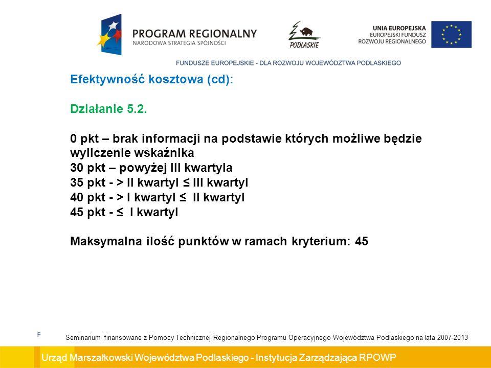Urząd Marszałkowski Województwa Podlaskiego - Instytucja Zarządzająca RPOWP Seminarium finansowane z Pomocy Technicznej Regionalnego Programu Operacyjnego Województwa Podlaskiego na lata 2007-2013 Efektywność kosztowa (cd): Działanie 5.2.