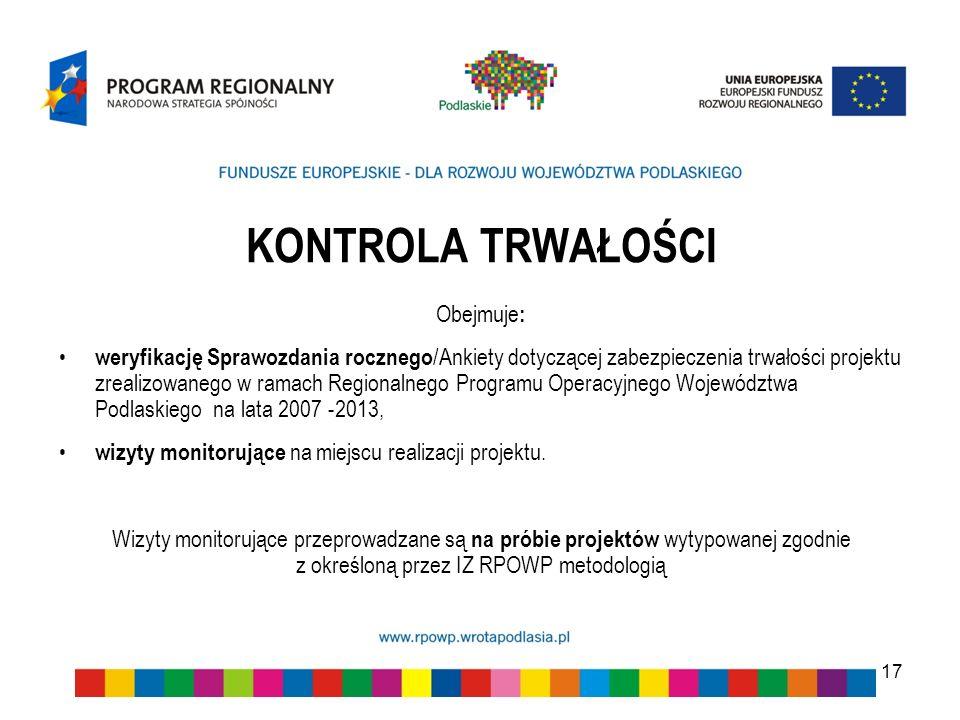 KONTROLA TRWAŁOŚCI Obejmuje : weryfikację Sprawozdania rocznego /Ankiety dotyczącej zabezpieczenia trwałości projektu zrealizowanego w ramach Regional