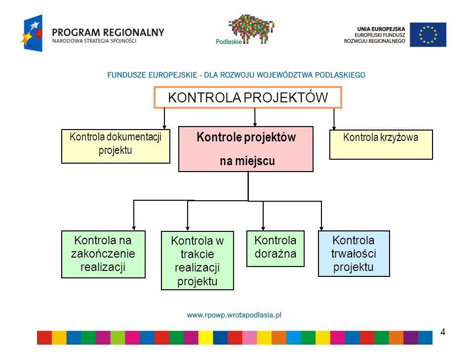 4 KONTROLA PROJEKTÓW Kontrola na zakończenie realizacji Kontrola trwałości projektu Kontrole projektów na miejscu Kontrola dokumentacji projektu Kontr