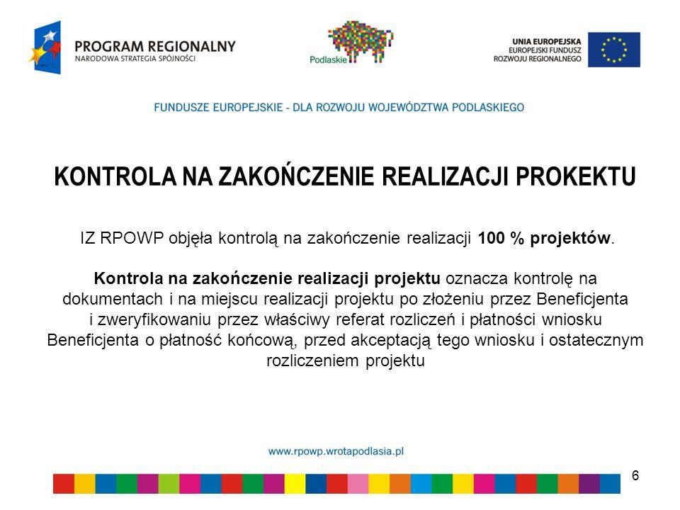 6 KONTROLA NA ZAKOŃCZENIE REALIZACJI PROKEKTU IZ RPOWP objęła kontrolą na zakończenie realizacji 100 % projektów. Kontrola na zakończenie realizacji p