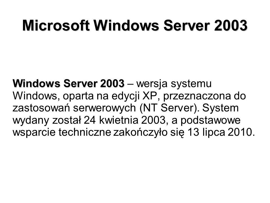 Microsoft Windows Server 2003 Windows Server 2003 Windows Server 2003 – wersja systemu Windows, oparta na edycji XP, przeznaczona do zastosowań serwer
