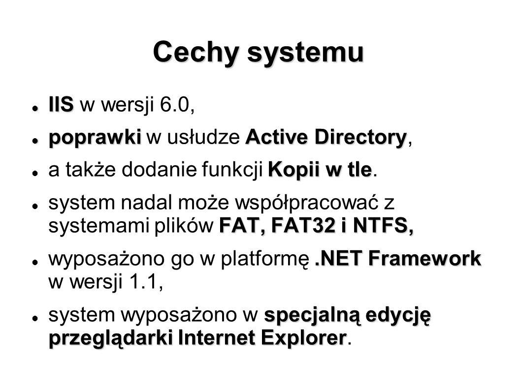 Cechy systemu IIS IIS w wersji 6.0, poprawkiActive Directory poprawki w usłudze Active Directory, Kopii w tle a także dodanie funkcji Kopii w tle. FAT