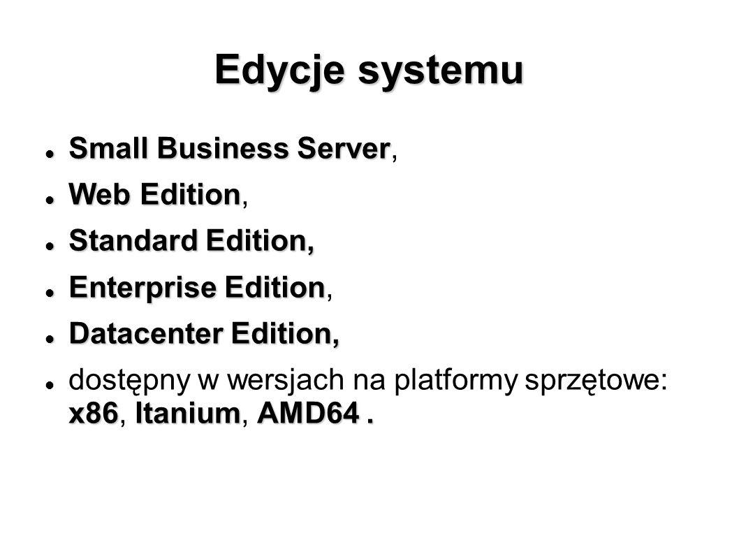Edycje systemu Small Business Server Small Business Server, Web Edition Web Edition, Standard Edition, Standard Edition, Enterprise Edition Enterprise