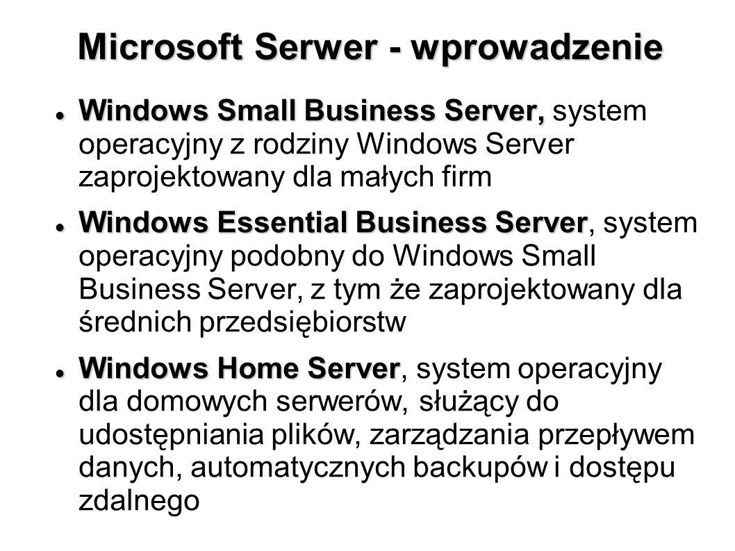 Microsoft Serwer - wprowadzenie Windows Small Business Server, Windows Small Business Server, system operacyjny z rodziny Windows Server zaprojektowan