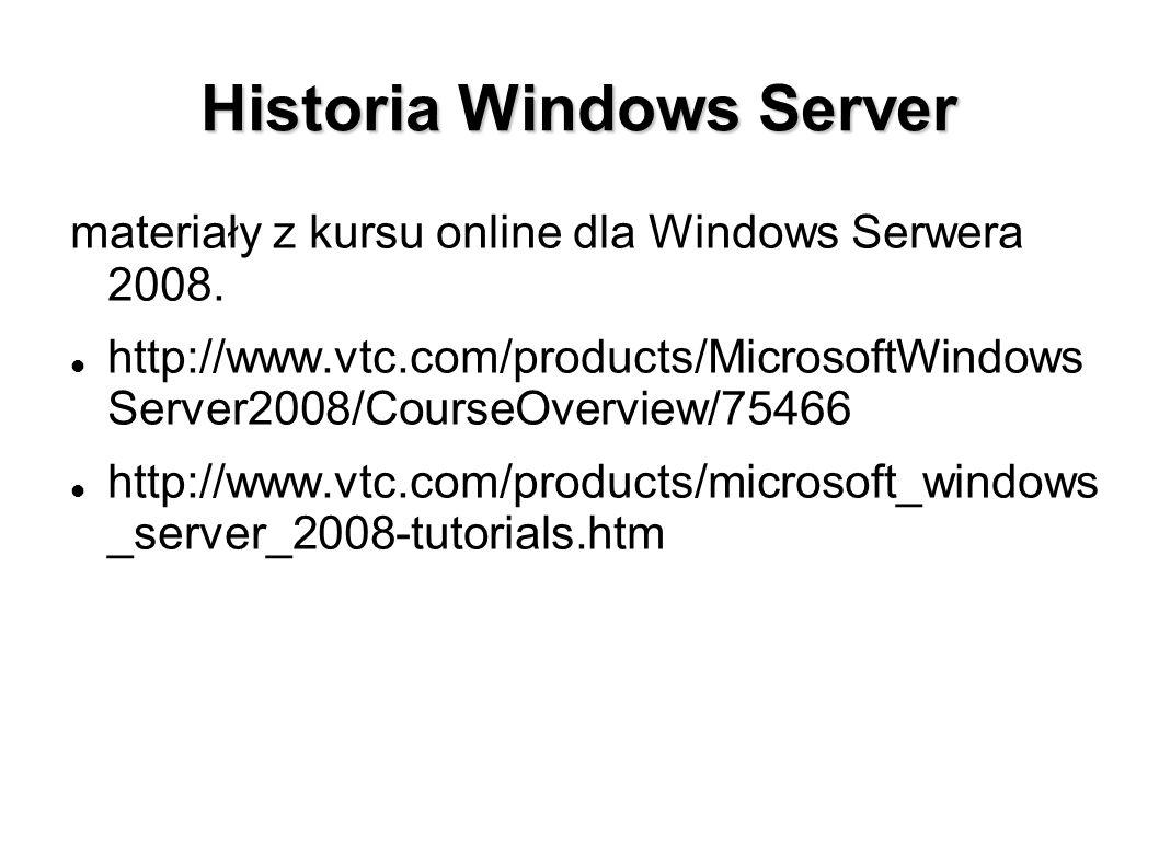 Historia Windows Server materiały z kursu online dla Windows Serwera 2008. http://www.vtc.com/products/MicrosoftWindows Server2008/CourseOverview/7546