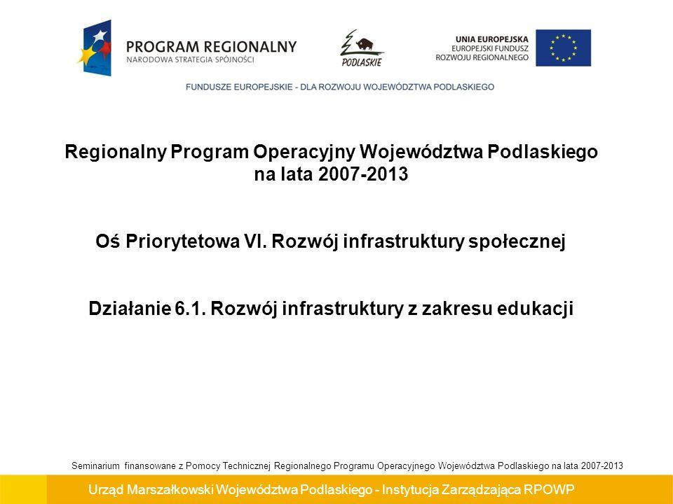 Urząd Marszałkowski Województwa Podlaskiego - Instytucja Zarządzająca RPOWP Seminarium finansowane z Pomocy Technicznej Regionalnego Programu Operacyjnego Województwa Podlaskiego na lata 2007-2013 Cel główny Osi Priorytetowej VI.