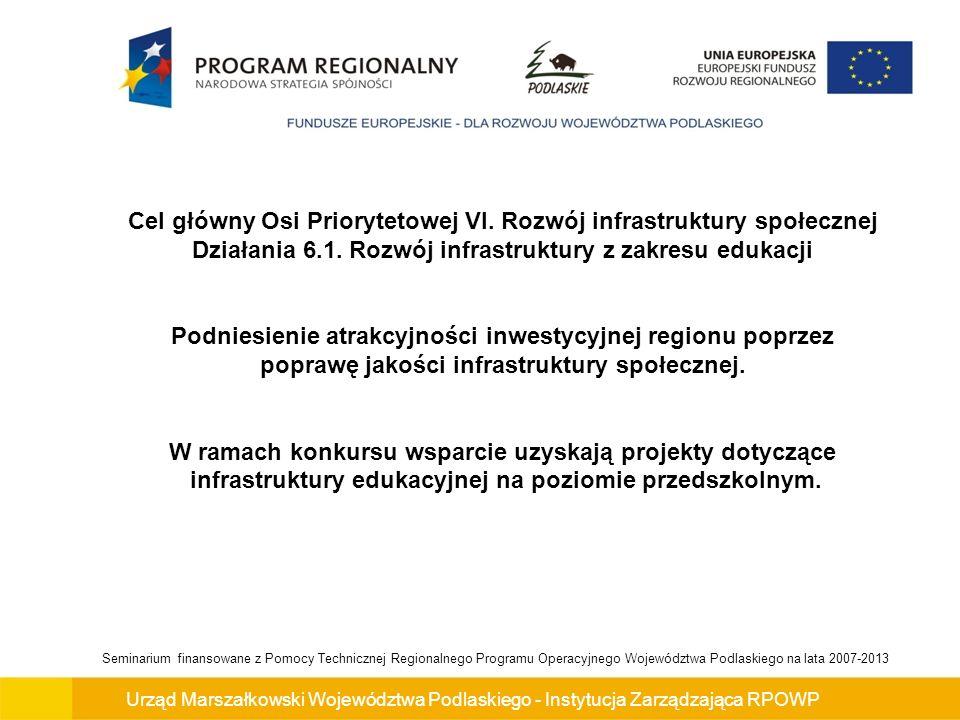 Urząd Marszałkowski Województwa Podlaskiego - Instytucja Zarządzająca RPOWP Seminarium finansowane z Pomocy Technicznej Regionalnego Programu Operacyjnego Województwa Podlaskiego na lata 2007-2013 Wzrost liczby dzieci z terenów wiejskich korzystających z placówki Przykład 1 W roku 2009 (rok bazowy) liczba dzieci z terenów wiejskich w przedszkolu wyniosła 63 natomiast w roku docelowym do przedszkola będzie uczęszczało 69 dzieci z terenów wiejskich.