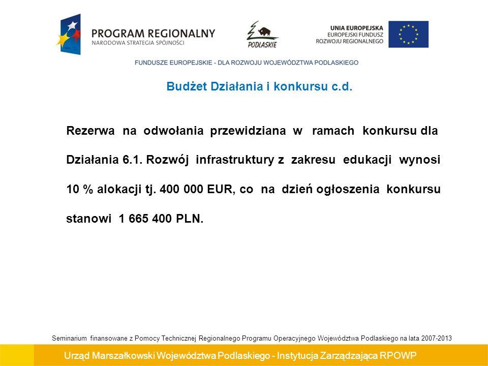 Urząd Marszałkowski Województwa Podlaskiego - Instytucja Zarządzająca RPOWP Seminarium finansowane z Pomocy Technicznej Regionalnego Programu Operacyjnego Województwa Podlaskiego na lata 2007-2013 Maksymalna / minimalna wartość projektu: Minimalna i maksymalna wartość projektu – nie dotyczy Maksymalna kwota wsparcia projektu – 400 000 PLN Maksymalny udział środków z UE w wydatkach kwalifikowalnych na poziomie projektu - 85 %