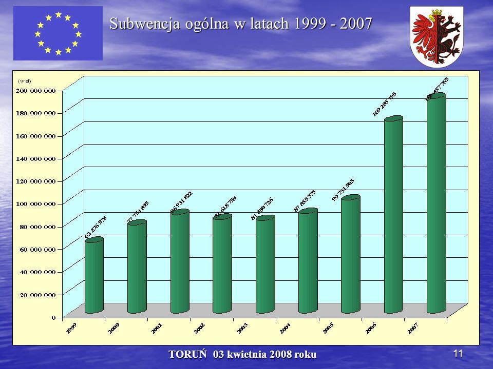 11 TORUŃ 03 kwietnia 2008 roku Subwencja ogólna w latach 1999 - 2007 Subwencja ogólna w latach 1999 - 2007