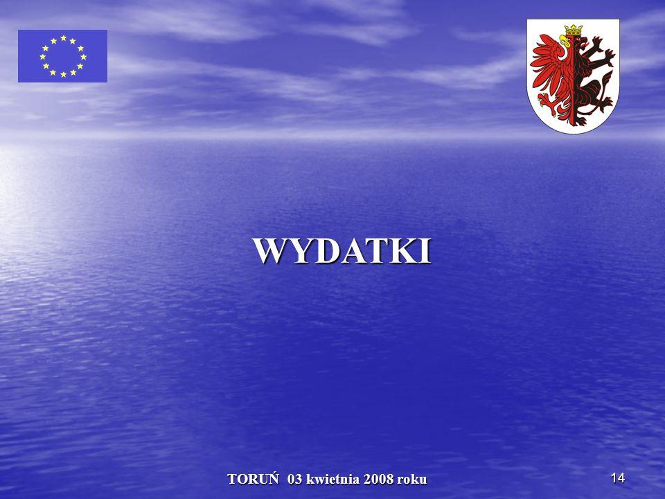 14 TORUŃ 03 kwietnia 2008 roku WYDATKI