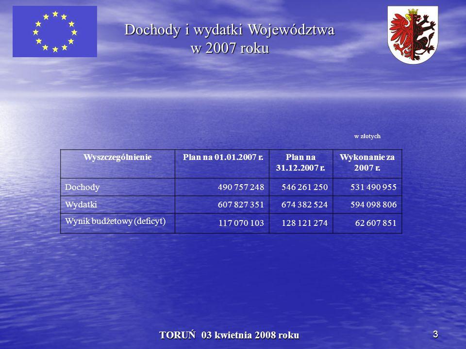 3 TORUŃ 03 kwietnia 2008 roku Dochody i wydatki Województwa w 2007 roku w złotych Wyszczególnienie Plan na 01.01.2007 r.Plan na 31.12.2007 r.