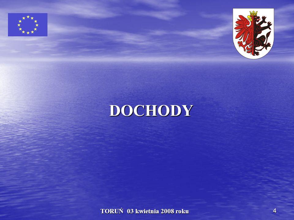 35 TORUŃ 03 kwietnia 2008 roku Udział Województwa Kujawsko - Pomorskiego we wpływach z podatków PIT w 2007 r.