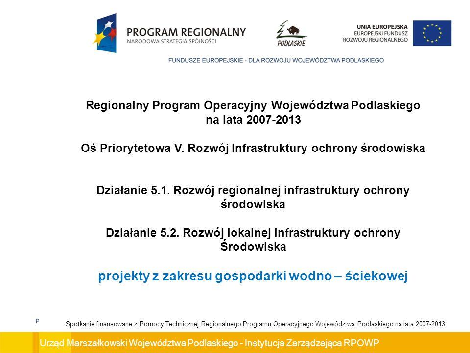 Urząd Marszałkowski Województwa Podlaskiego - Instytucja Zarządzająca RPOWP Spotkanie finansowane z Pomocy Technicznej Regionalnego Programu Operacyjnego Województwa Podlaskiego na lata 2007-2013 Rezerwa na odwołania przewidziana dla Działania 5.1.