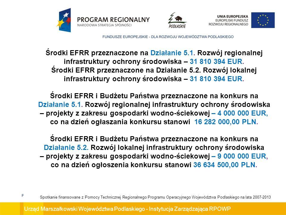 Urząd Marszałkowski Województwa Podlaskiego - Instytucja Zarządzająca RPOWP Spotkanie finansowane z Pomocy Technicznej Regionalnego Programu Operacyjnego Województwa Podlaskiego na lata 2007-2013 Środki EFRR przeznaczone na Działanie 5.1.