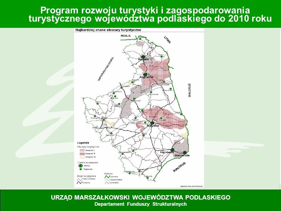 10 Program rozwoju turystyki i zagospodarowania turystycznego województwa podlaskiego do 2010 roku URZĄD MARSZAŁKOWSKI WOJEWÓDZTWA PODLASKIEGO Departa