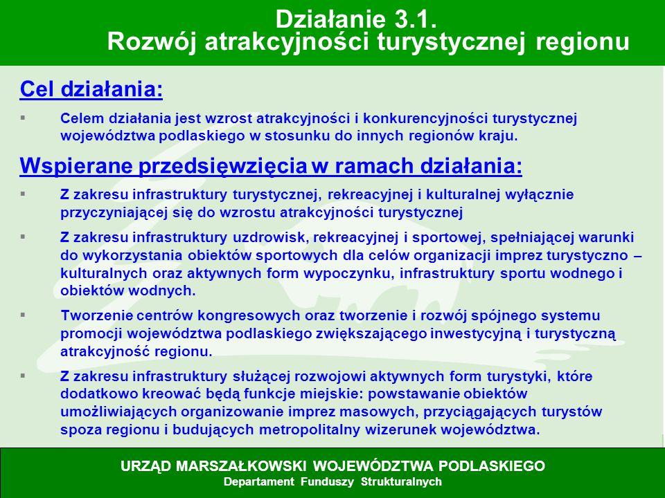 28.06.07 Cel działania: Celem działania jest wzrost atrakcyjności i konkurencyjności turystycznej województwa podlaskiego w stosunku do innych regionó