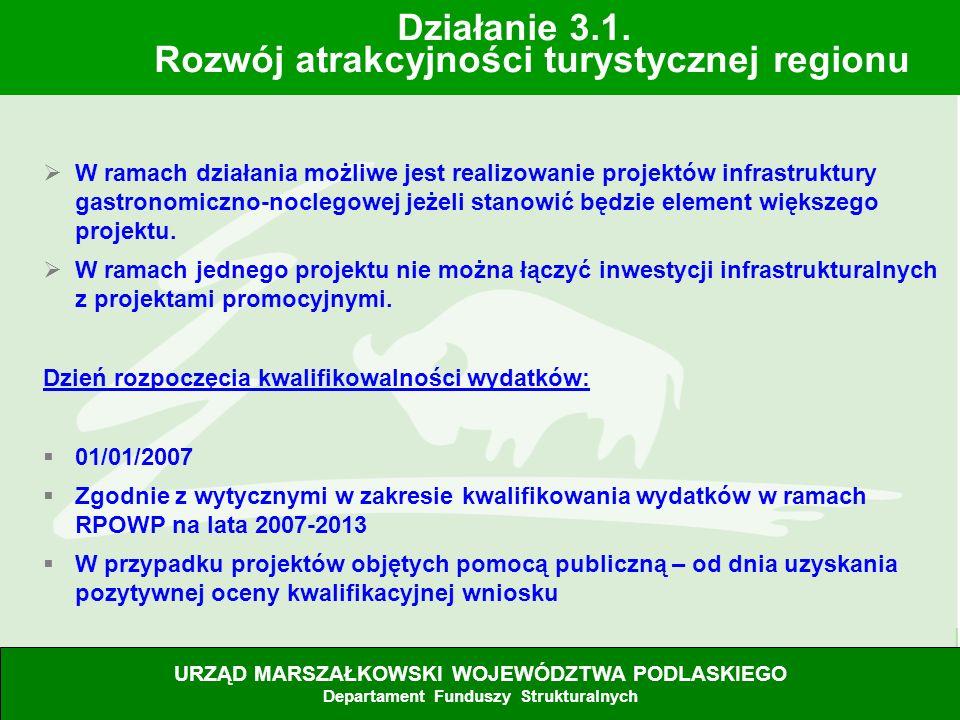 28.06.07 W ramach działania możliwe jest realizowanie projektów infrastruktury gastronomiczno-noclegowej jeżeli stanowić będzie element większego proj