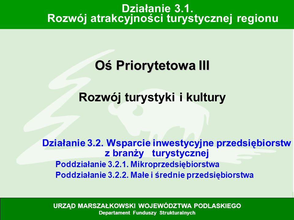 28.06.07 Oś Priorytetowa III Rozwój turystyki i kultury Działanie 3.2. Wsparcie inwestycyjne przedsiębiorstw z branży turystycznej Poddziałanie 3.2.1.