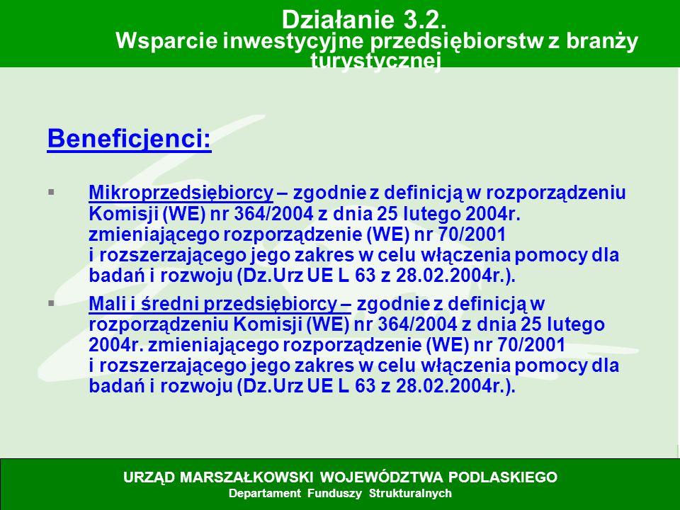 28.06.07 Beneficjenci: Mikroprzedsiębiorcy – zgodnie z definicją w rozporządzeniu Komisji (WE) nr 364/2004 z dnia 25 lutego 2004r. zmieniającego rozpo