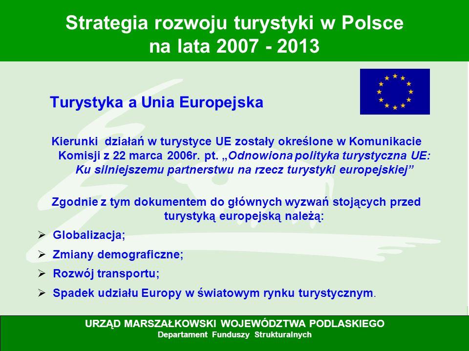 5 Turystyka a Unia Europejska Kierunki działań w turystyce UE zostały określone w Komunikacie Komisji z 22 marca 2006r. pt. Odnowiona polityka turysty