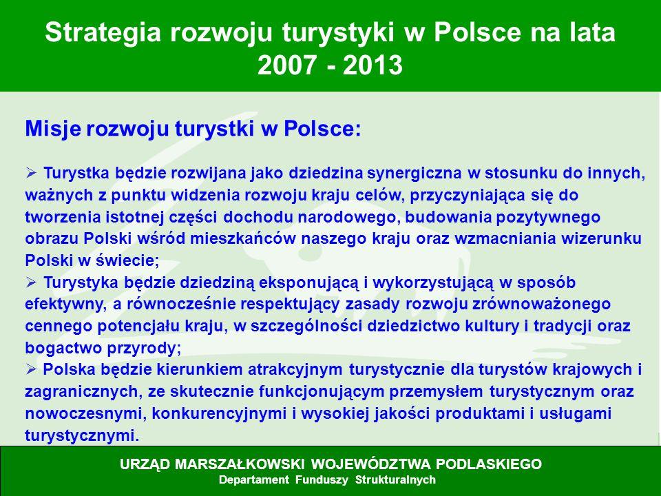 8 Misje rozwoju turystki w Polsce: Turystka będzie rozwijana jako dziedzina synergiczna w stosunku do innych, ważnych z punktu widzenia rozwoju kraju